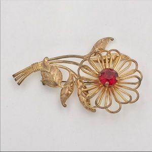 Mid Century Red Rhinestone Ornate Wire Brooch